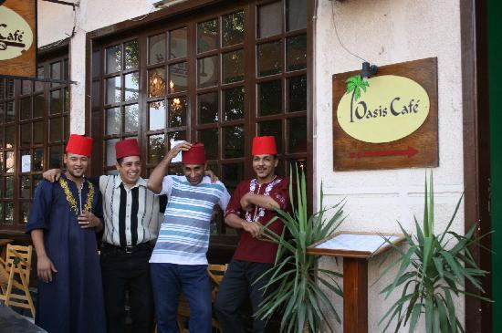 Oasis Cafe: The manager and staff outside the cafe