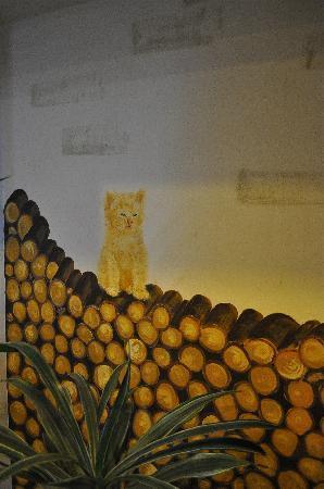 Jugendherberge Montreux: Wandmalerei an der Réception