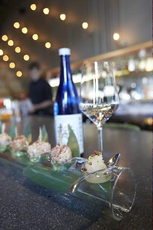 Ten: Born 'Ocean Blue' sake and takoyaki.