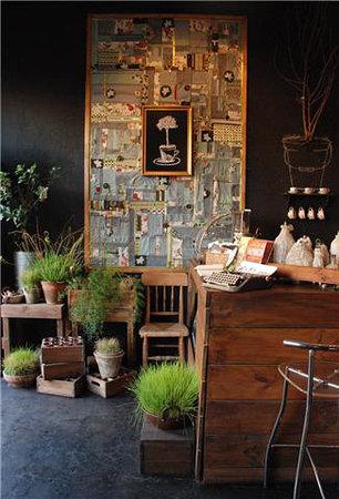 Cafe del Jardin: Café del Jardín . entrada mural patchwork