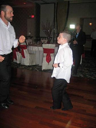 Radisson Hotel Freehold: my nephew and his dad dancing.