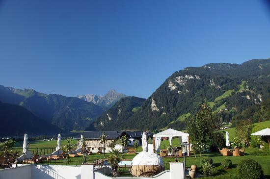 Hotel Alpenblick: The valley view we craved (hotel pool in foreground)