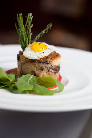 Abreo Restaurant: Mushroom bread pudding with mushroom-garlic broth and fried farm egg