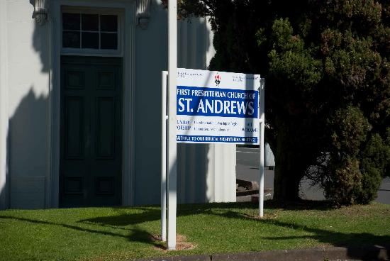 The First Presbyterian Church of Saint Andrew: Even the church sign was colourful