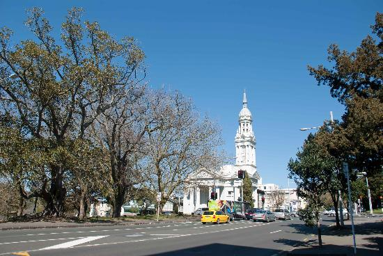 The First Presbyterian Church of Saint Andrew: Looking at the church from up the street
