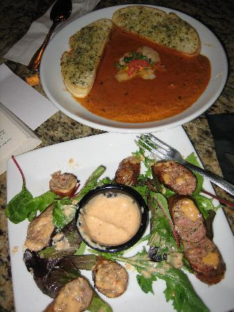 Pie Pizza & Pastas: Tomato basil soup & alligator & duck sausage appetizer (more than I could eat)