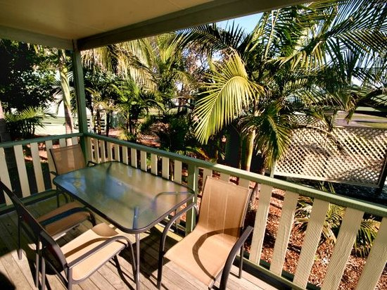 North Coast Holiday Parks Forster Beach : veranda of our beach deluxe cabins.