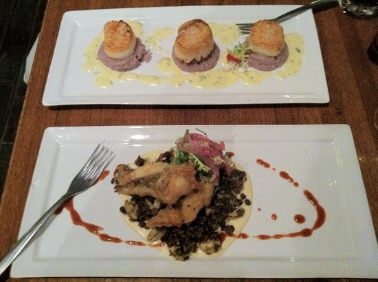 Tasters Taco Emporium: Pan seared scallops with purple potato puree & lemon thyme butter, & Tempura hogfish with parsni