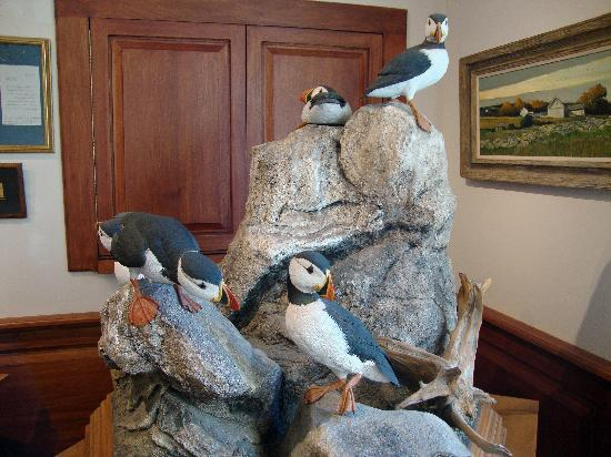 The Bennington Center for the Arts: Puffins sculpted from wood