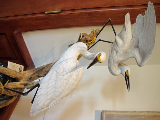 The Bennington Center for the Arts: Egrets sculpted from wood, beautiful display