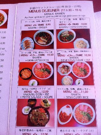 Sapporo Ramen: 4 menus retenus