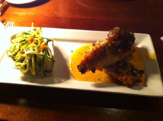 Columbus Fish Market Crosswoods: Pumpkin seed encrusted talapia with sauteed zucchini and yellow squash