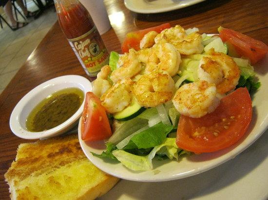 Cajun Greek: grilled shrimp salad