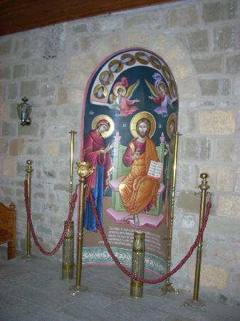 Metéora: Photographs of this icon are allowed at St. Varlaam Monastery, but none can be taken in the chur