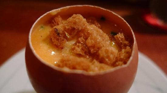 Degustation : egg and chorizo in eggshell