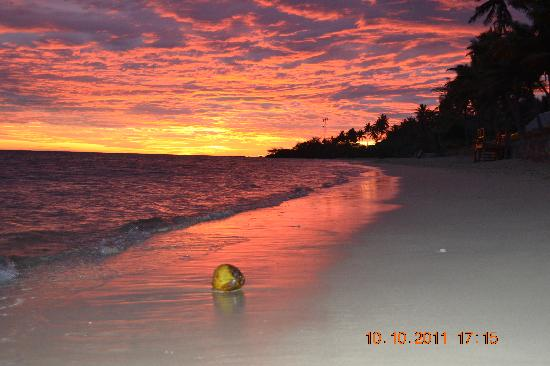 Fiji Hideaway Resort & Spa: coconut in the water + amazing sunset in paradise