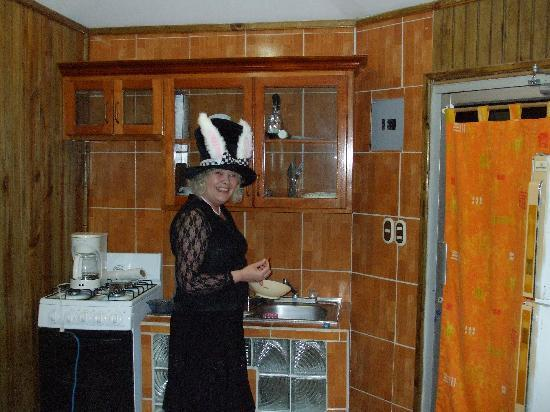 Coconut Tree West Bay: Cabin Kitchen, and a silly hat LOL