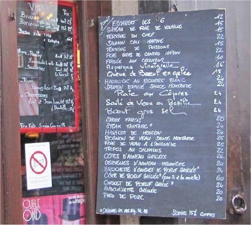 Chez Denise, Paris : Le menu du jeudi.