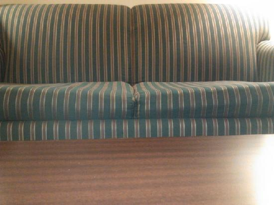 Quality Inn: The sofa, which is clearly worn out and sinks down in the middle.