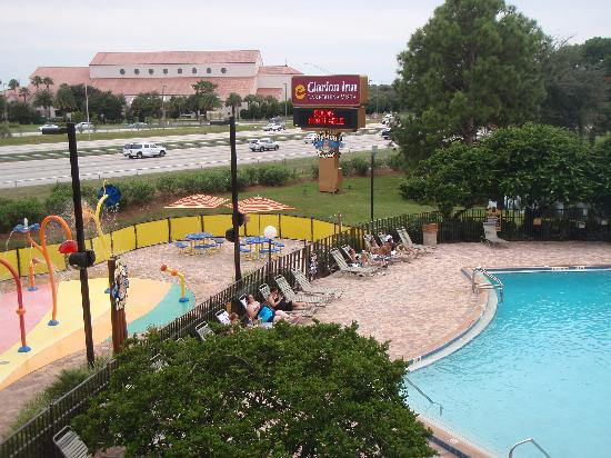 """Clarion Inn Lake Buena Vista: """"Pool view"""" from guest rooms on back of the hotel"""