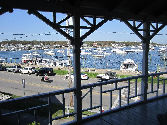 Attleboro House: View  of the street and habour from the rocking chair on the balcony off Room #9