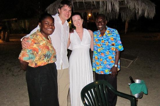Oualie Beach Restaurant: A quick pic with our excellent servers after our wedding-night dinner on the beach.