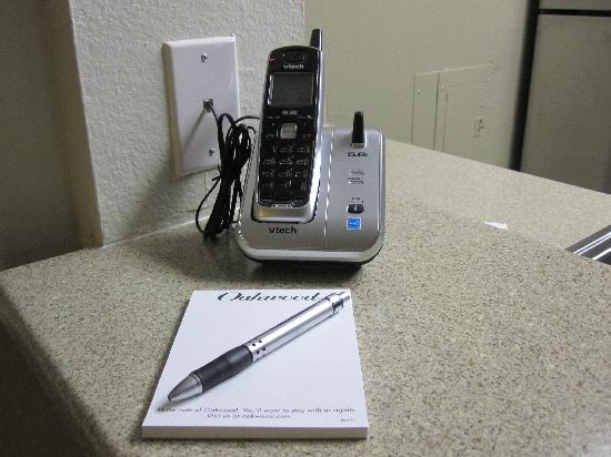 Oakwood Falls Church: Included cordless phone w/ voice mail.