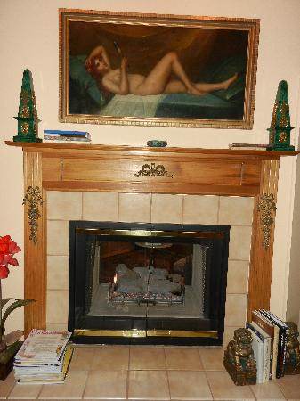 Innisfree Bed & Breakfast By-The-Lake: The fireplace was in the living space and bathroom!