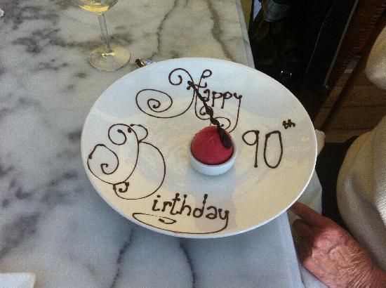 The Kinmel Arms : Happy 90th Birthday Chocolate Greetings