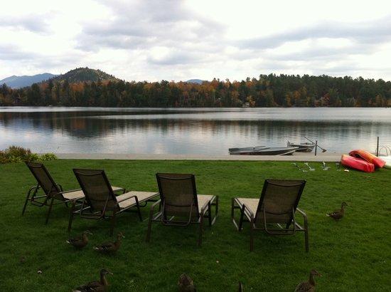 High Peaks Resort : lake front lawn