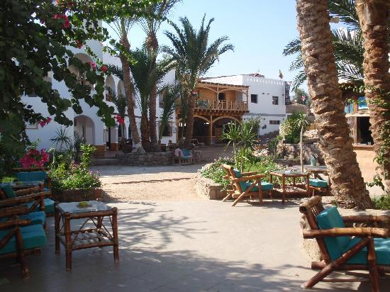 Dahab Divers South Sinai Hotel & Dive center: Old rooms, with dive center (wooden block) Picture from the entrance