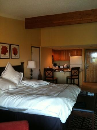 Shanty Creek Resorts - Summit Village: the king sized bed and our kitchenette in the background. room #362