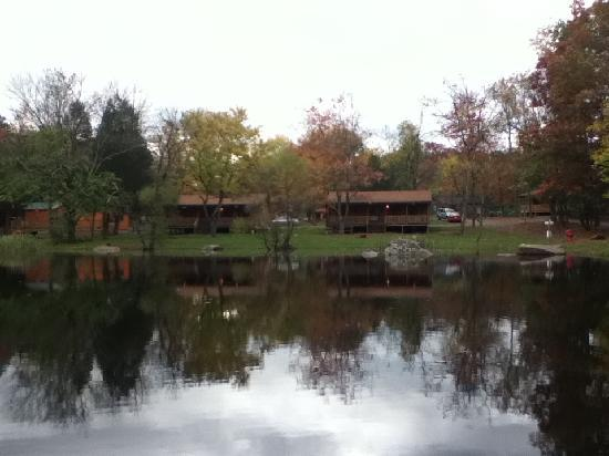 Drummer Boy Camping Resort: The Fishing Pond looking across at cabins D5 & D6