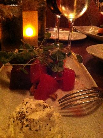 Alchemy: Watermelon & Beet Salad with Whipped Bleu Cheese