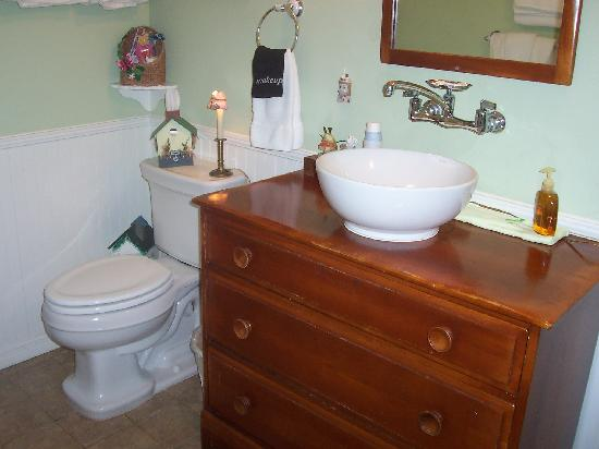 Alling House Bed and Breakfast: View of the bathroom.   Cute sink.  Even a Q-tip holder was provided!