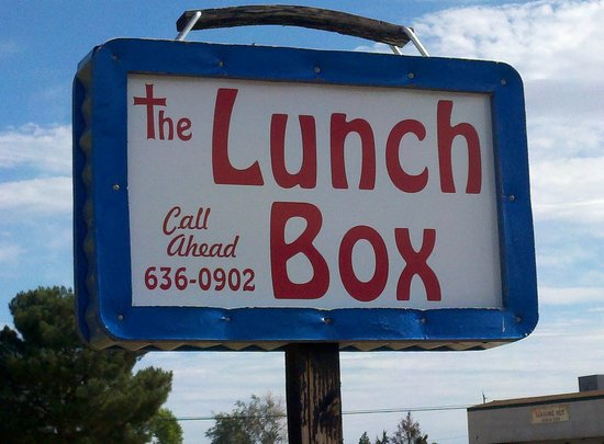 The Lunch Box: Their sign is a cute model of a classic lunch box.