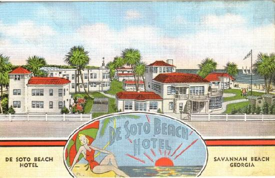 Desoto Beach Hotel Old Postcard