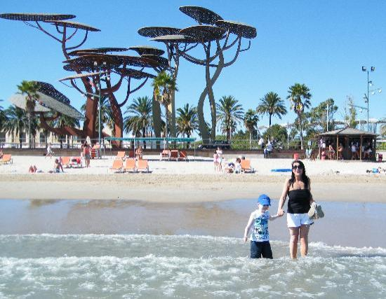 la pineda beach with the metal trees picture of la pineda costa dorada tripadvisor. Black Bedroom Furniture Sets. Home Design Ideas
