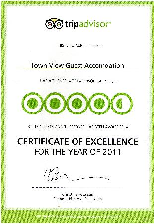 Town View Guest Accomdation: award