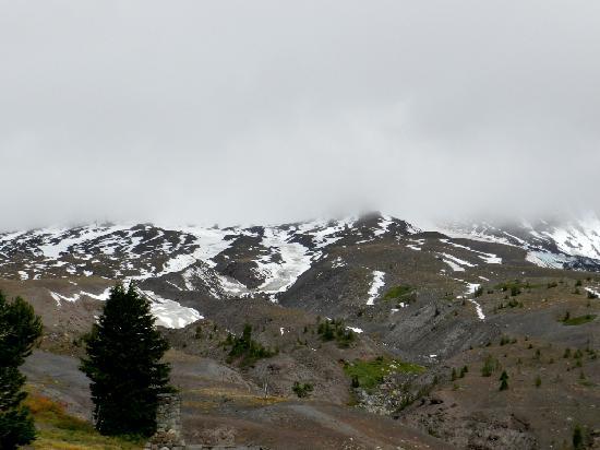 Mount Hood under fog