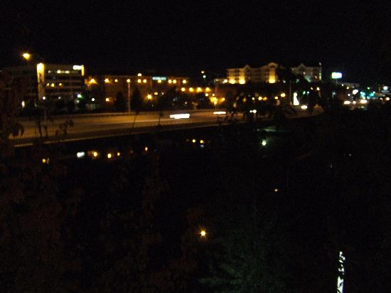 "Courtyard Spokane Downtown at the Convention Center: ""River View"" at night from Rm. 325"