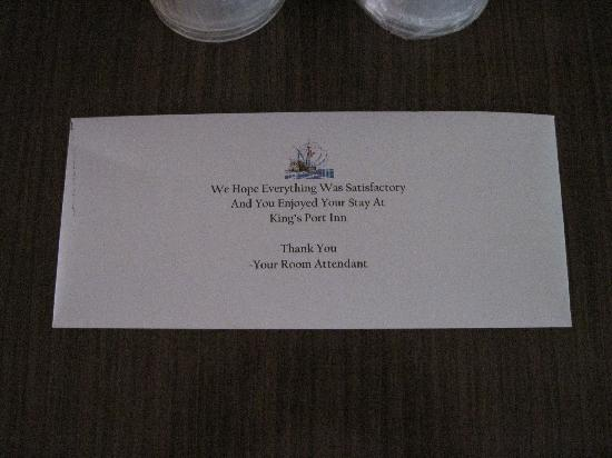 King's Port Inn: The tip envelope seemed a little presumptuous.