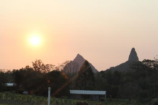 Glass on Glasshouse: Sunset at Glasshouse Mountains