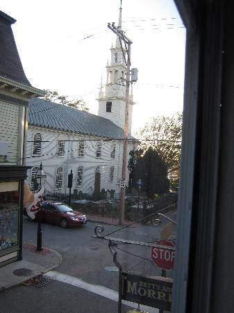 Borden House Newport: View of Trinity Church from window