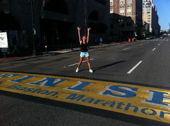 RunBoston Running Tours: Finishing our run at the Boston Marathon marker!