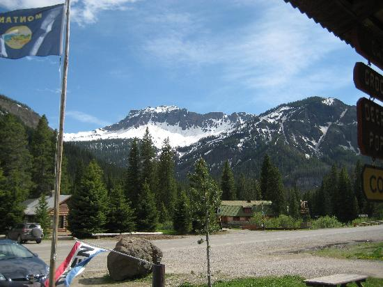 Silver Gate Cabins: View from the porch of Silvergate General Store