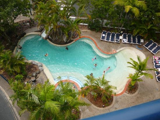 Ramada Golden Beach Resort: The pool, slide, and spa from the 8th floor.