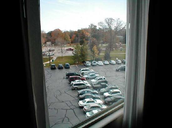 Harbor Shores on Lake Geneva: parking lot view from room