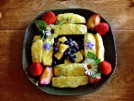 Bee & Bee ~ Bed and Breakfast: ~ fresh fruit with mint and garden blossoms