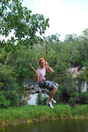 Cancun, Mexico: Zip lining over aligator infested lake